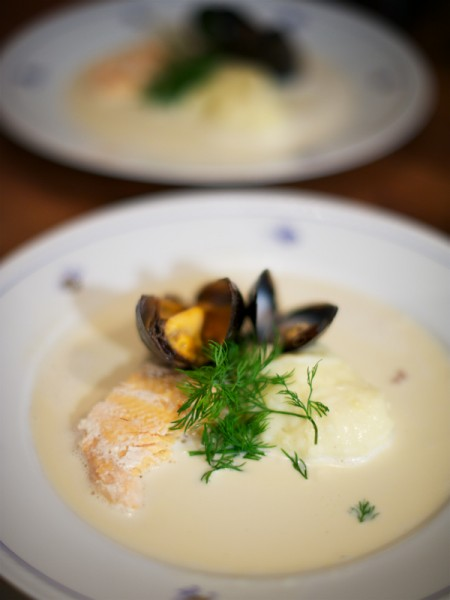 Arctic char with potato purée and clam sauce